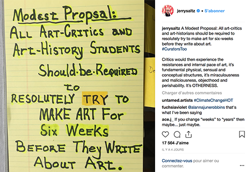 my art bucket list instagram jerry saltz